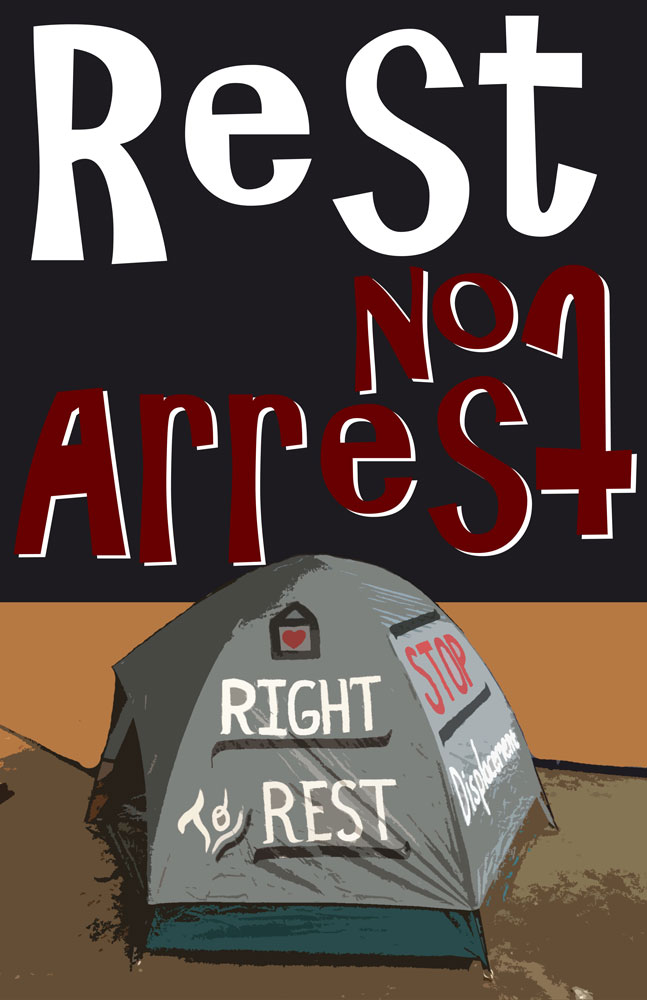 Rest Not Arrest poster for the Oregon Right to Rest Act