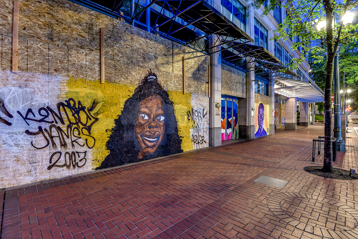A mural pays tribute to Kendra James
