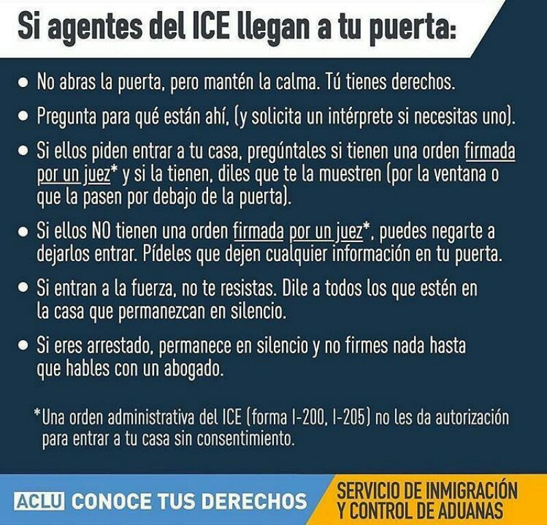 If ICE agents come to your door / Si agentes del ICE llegan a tu puerta