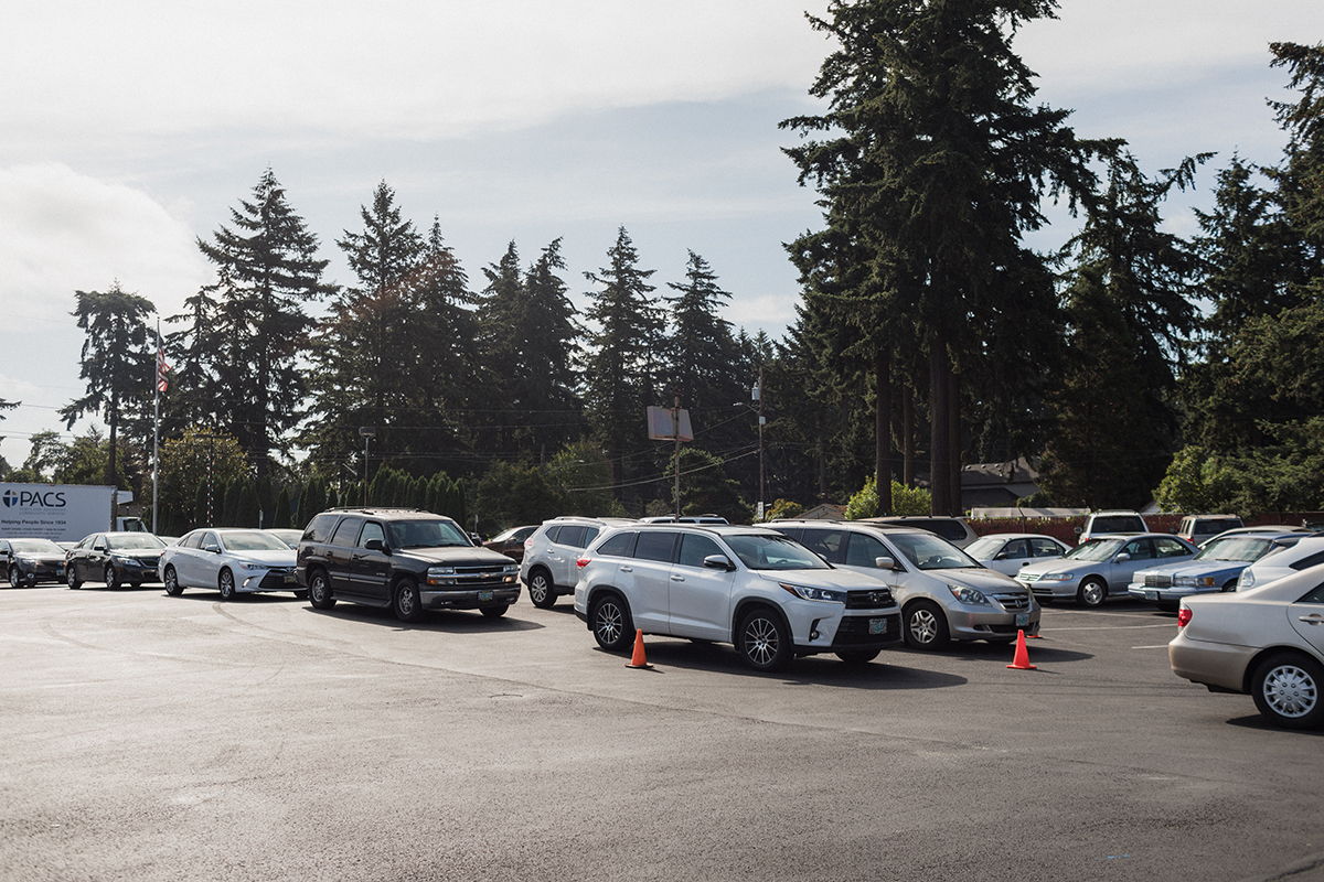 Lines of cars wait at Portland Adventist Community Services