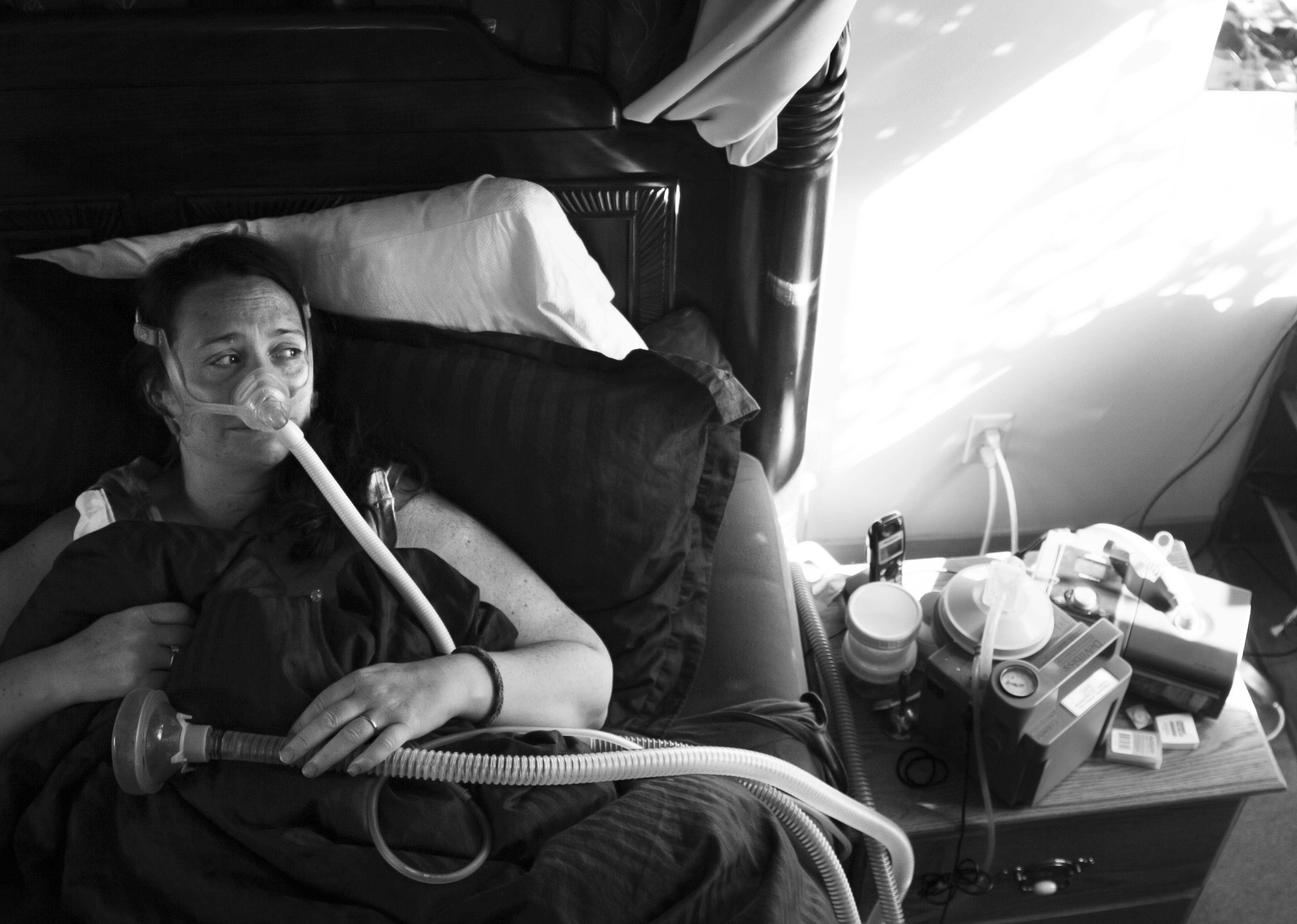 Sherrie uses breathing machines