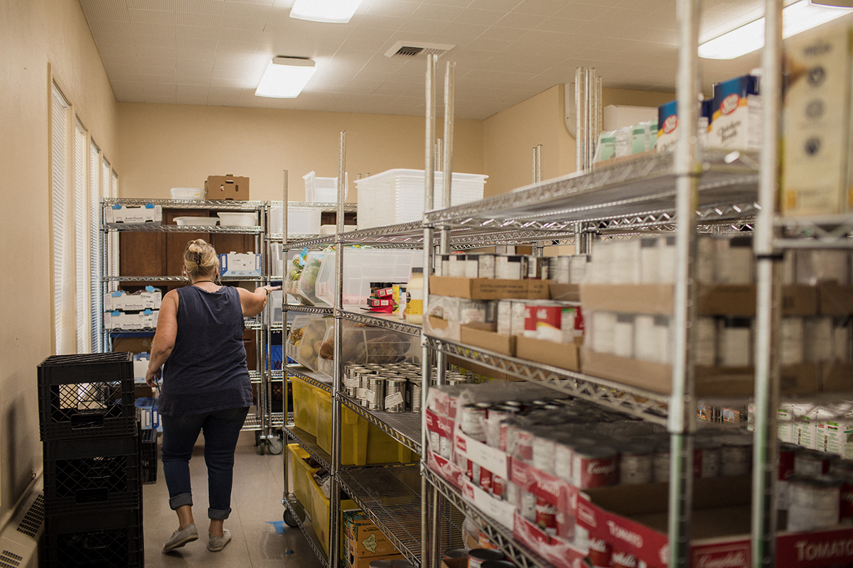 Shelves full of food at Lift UP pantry in Portland