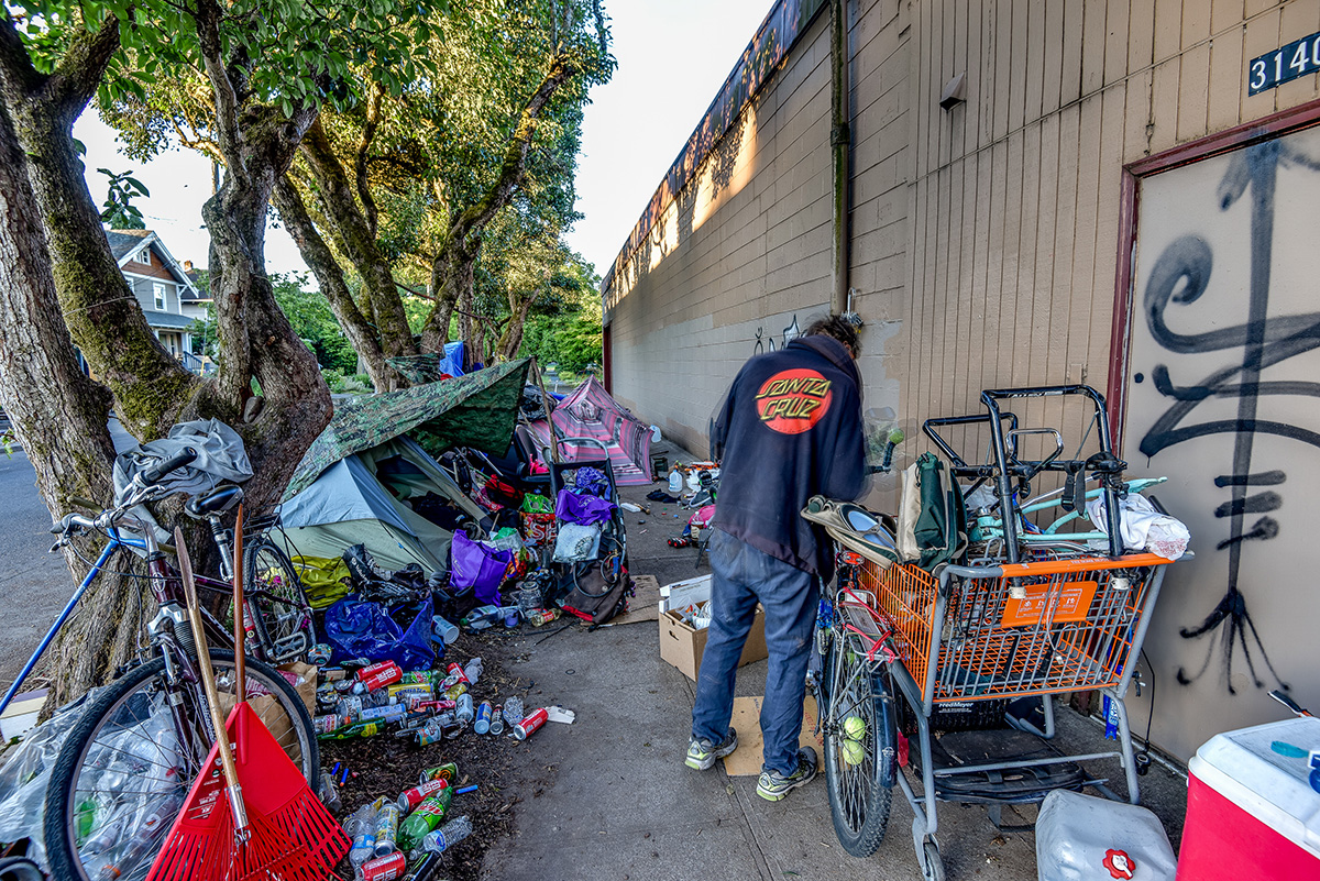 A camp camp on the south side of Southeast 32nd Avenue and Hawthorne Boulevard