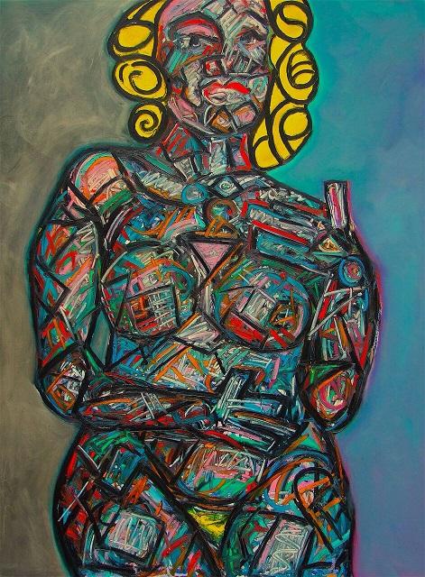David Slader abstract nude painting