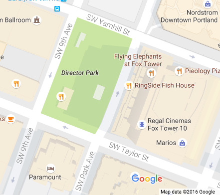Google map of Director Park in Portland