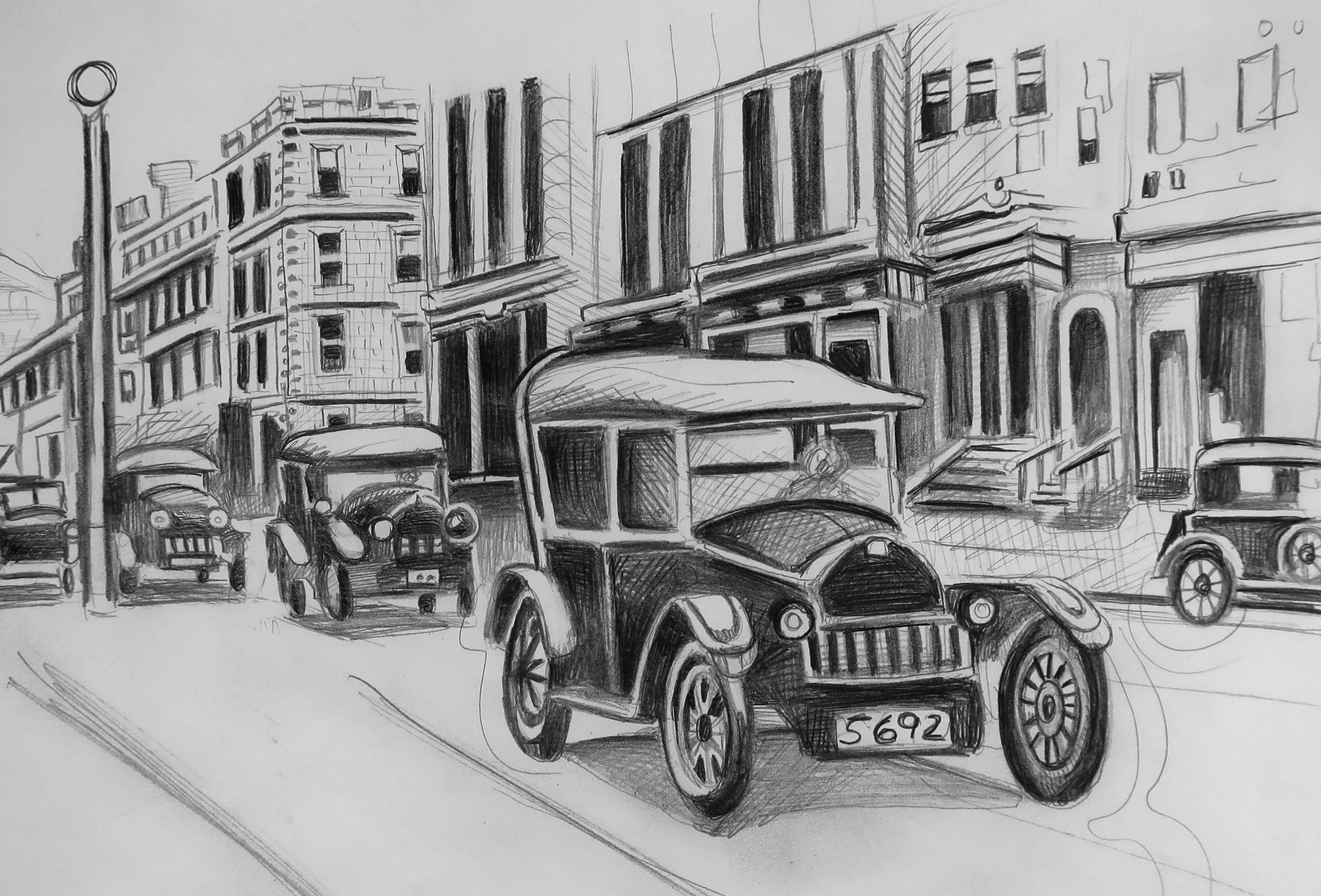 Illustration of historical automobiles in Old Town Portland