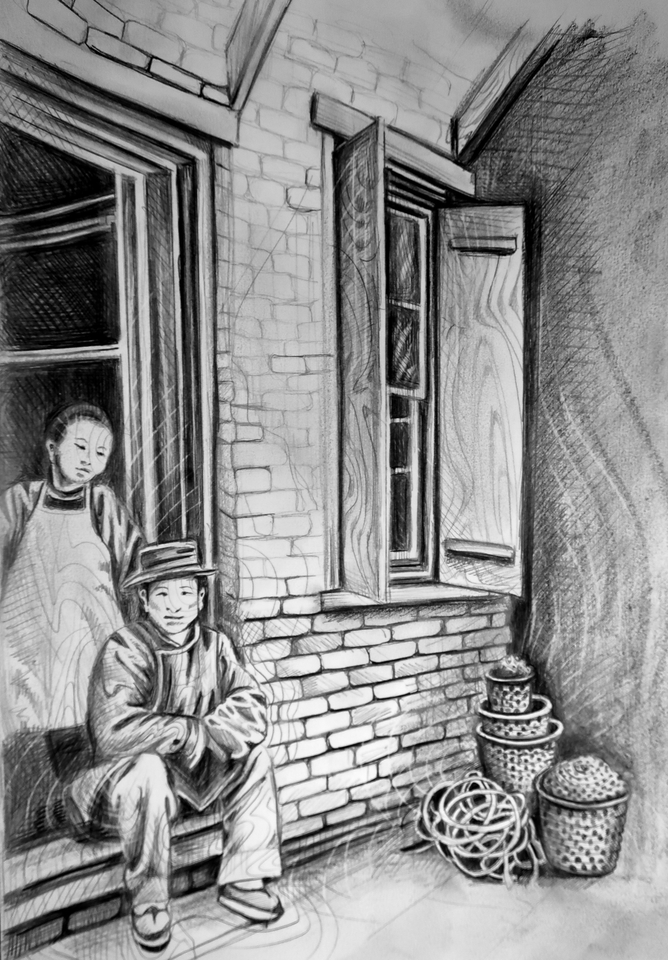 Illustration depicting Old Town's immigrant-rich history