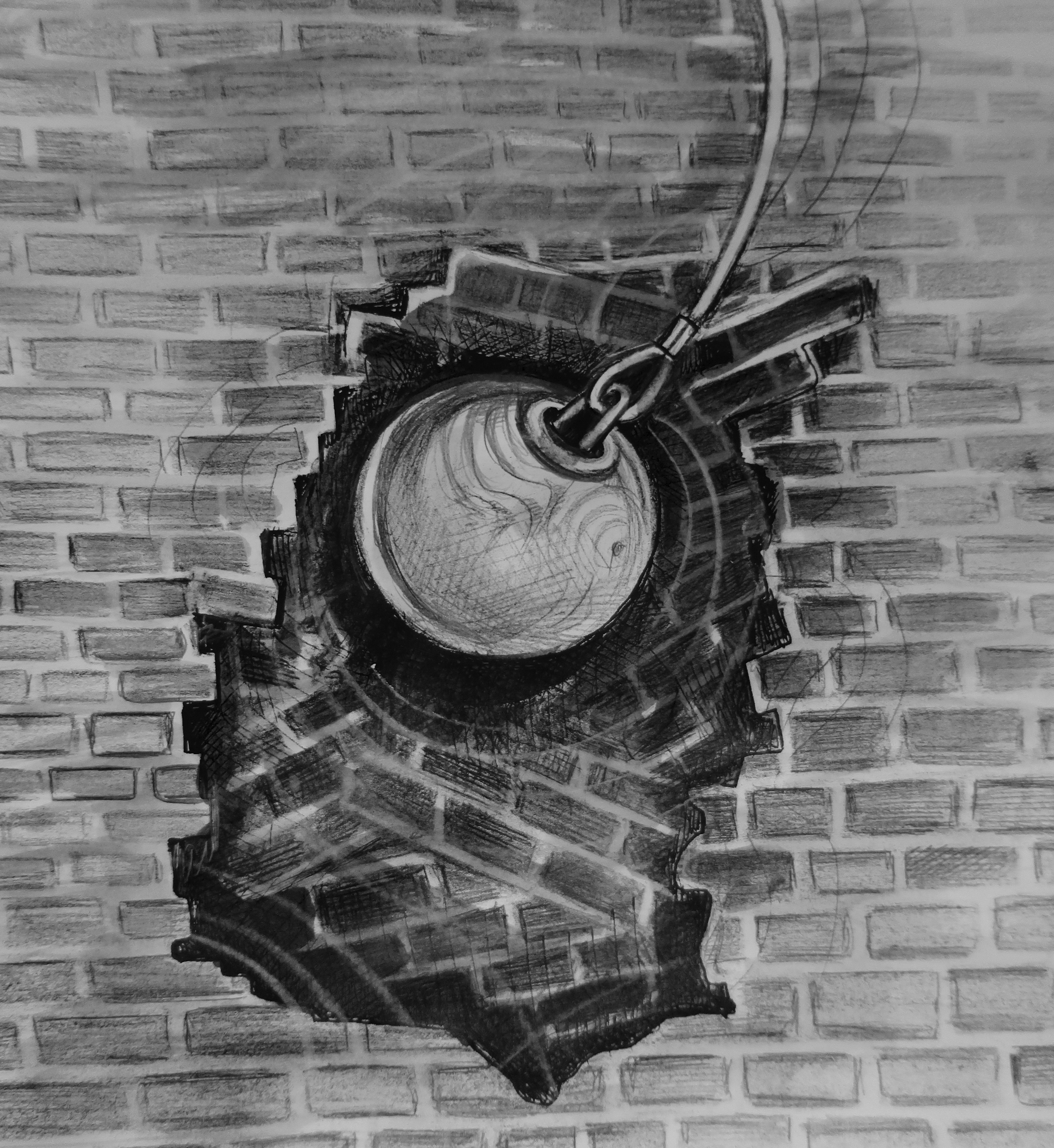 Illustration of a wrecking ball depicting Old Town's urban renewal