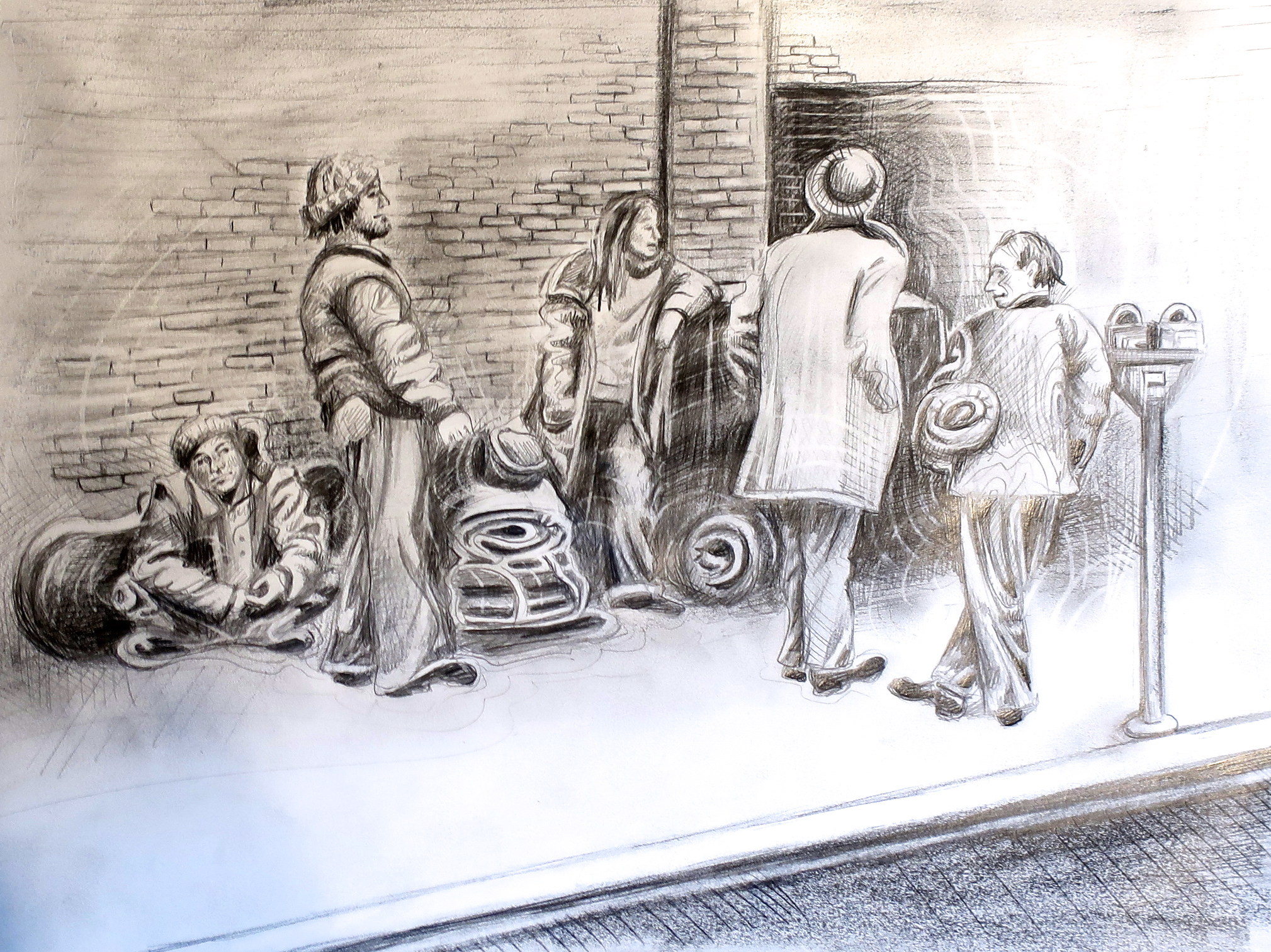 An illustration depicting people with sleeping bags on the sidewalks of Old Town