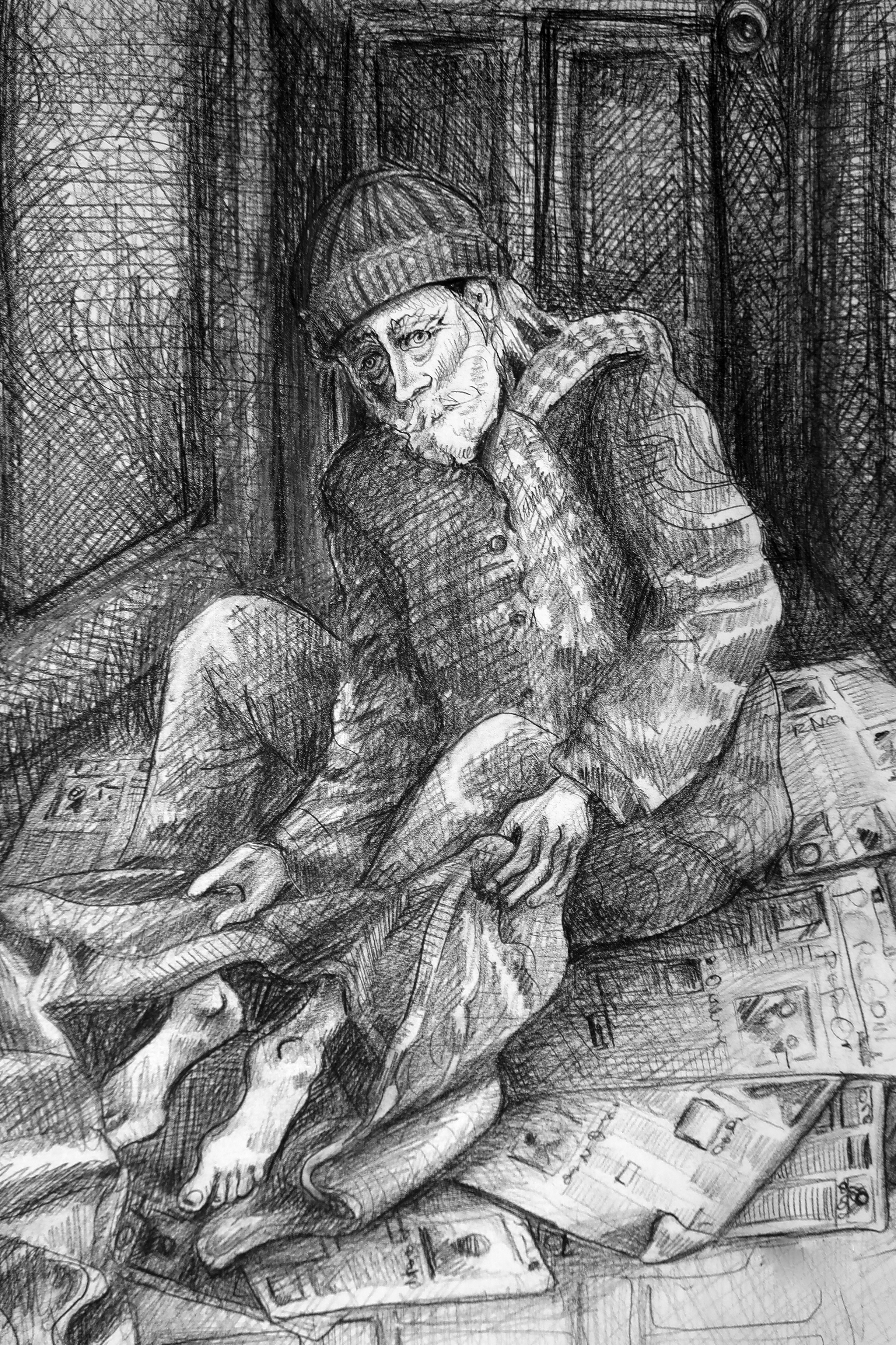 An illustration of a man sleeping on newspapers in a doorway outdoors in Old Town