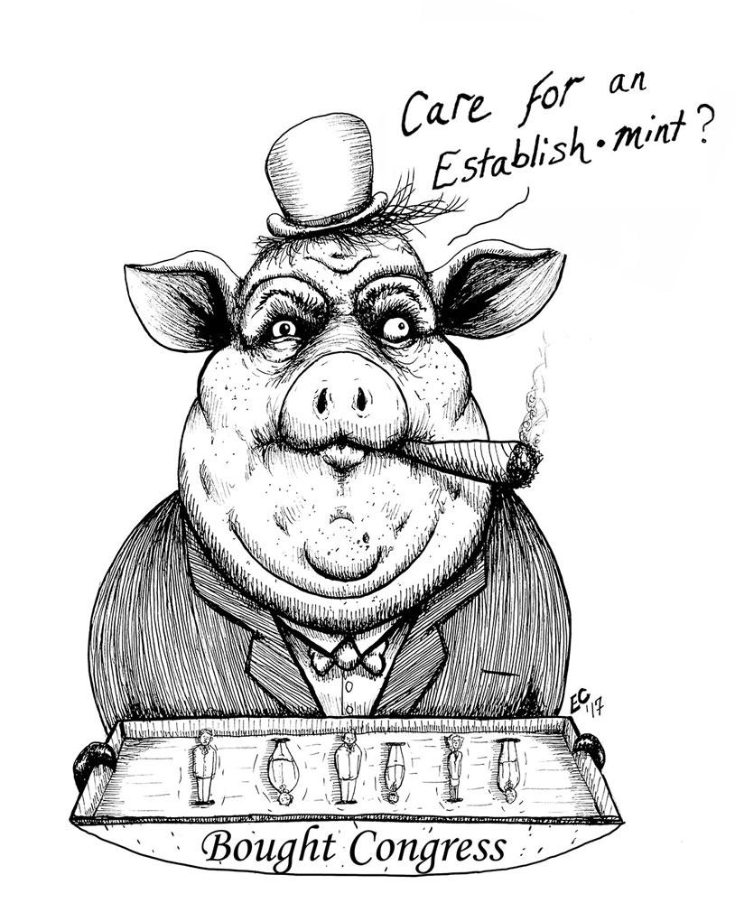 Sheeptoast editorial cartoon: Establishmint