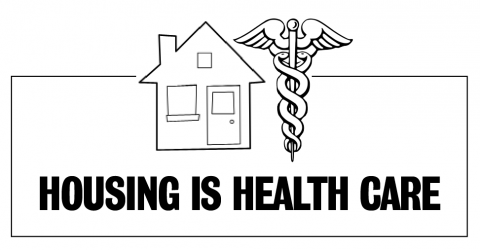 """Housing is Health Care"" logo"