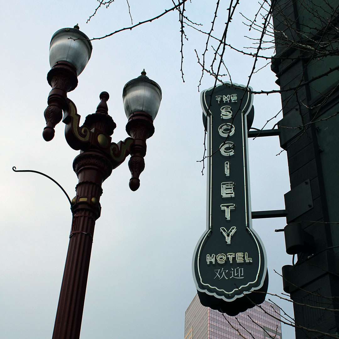 The sign outside The Society Hotel in Old Town