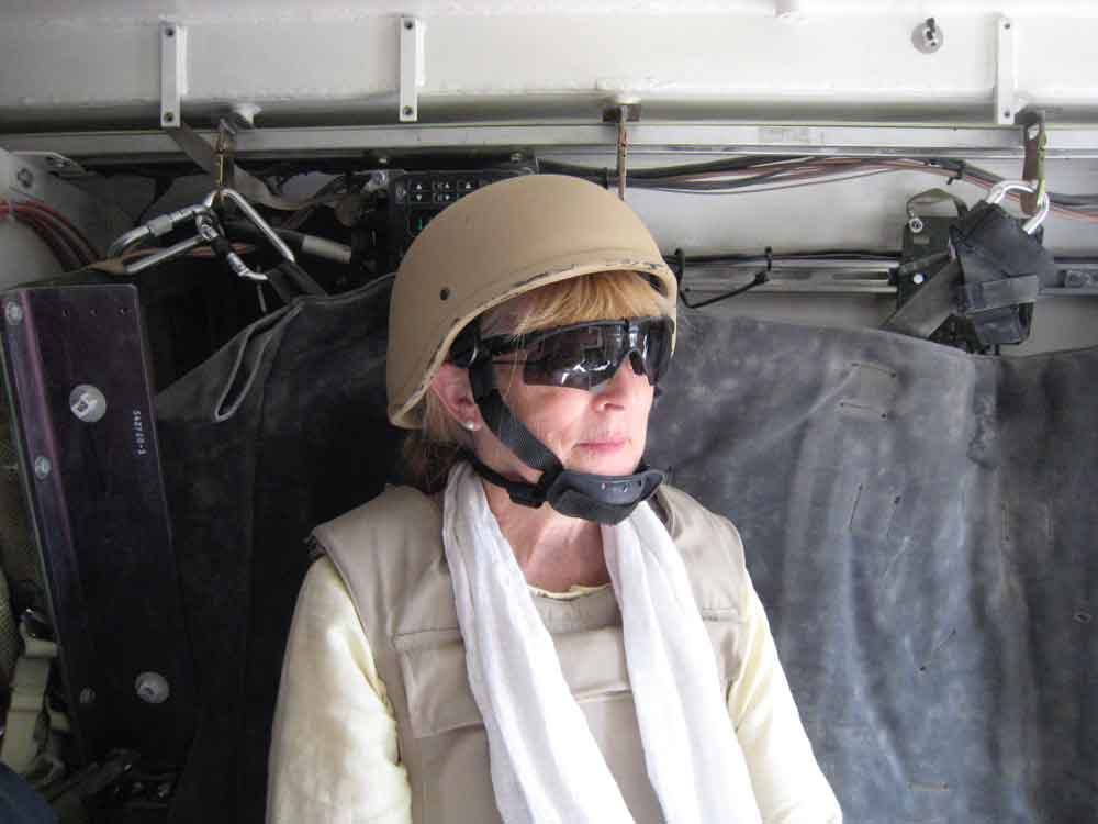 Inge Fryklund in a U.S. tank in Afghanistan