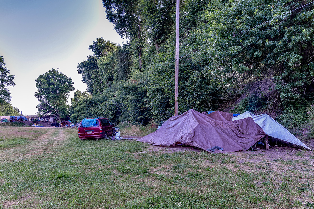 Tents on the north side of Delta Park