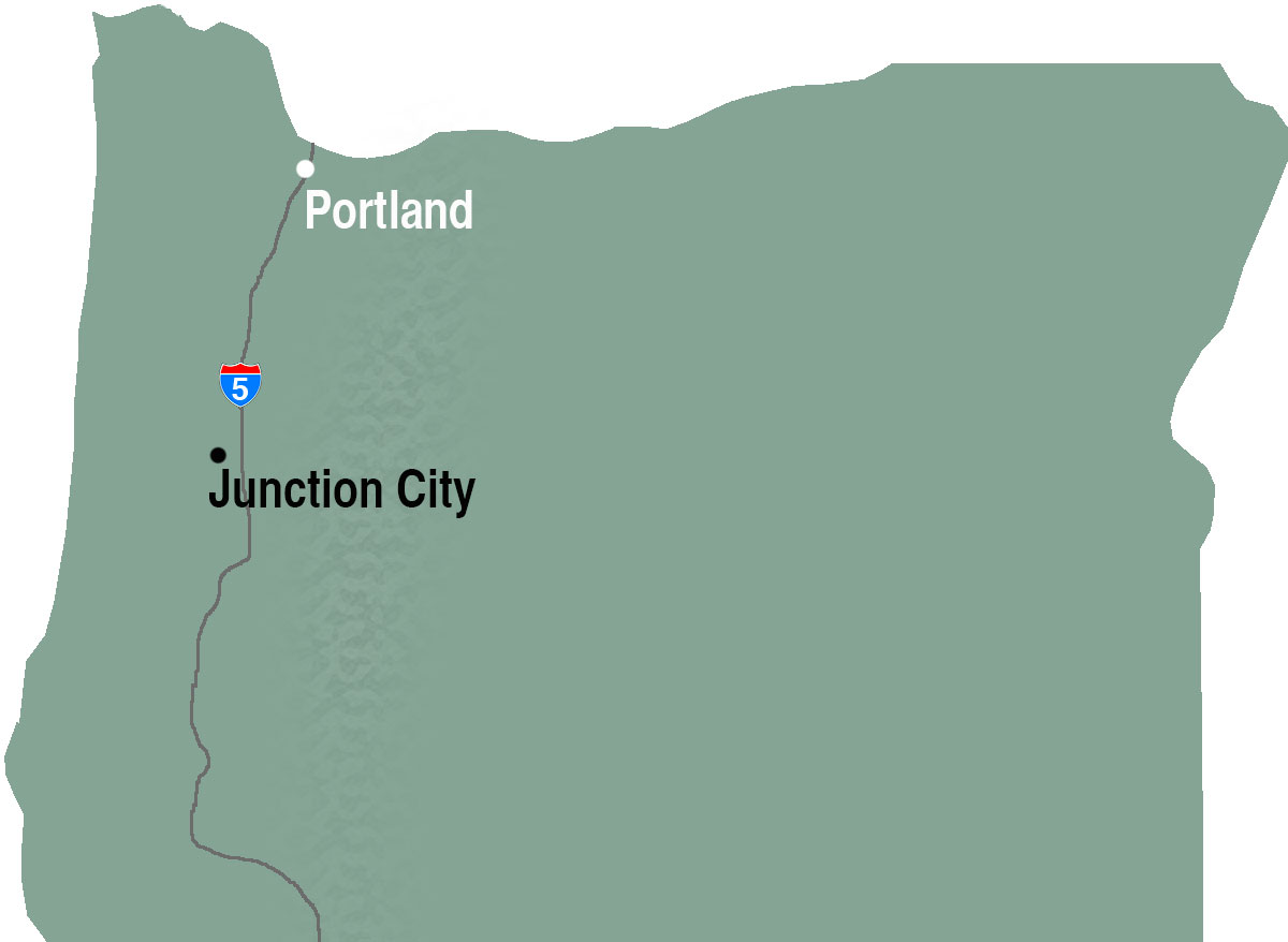 Oregon map locating Junction City