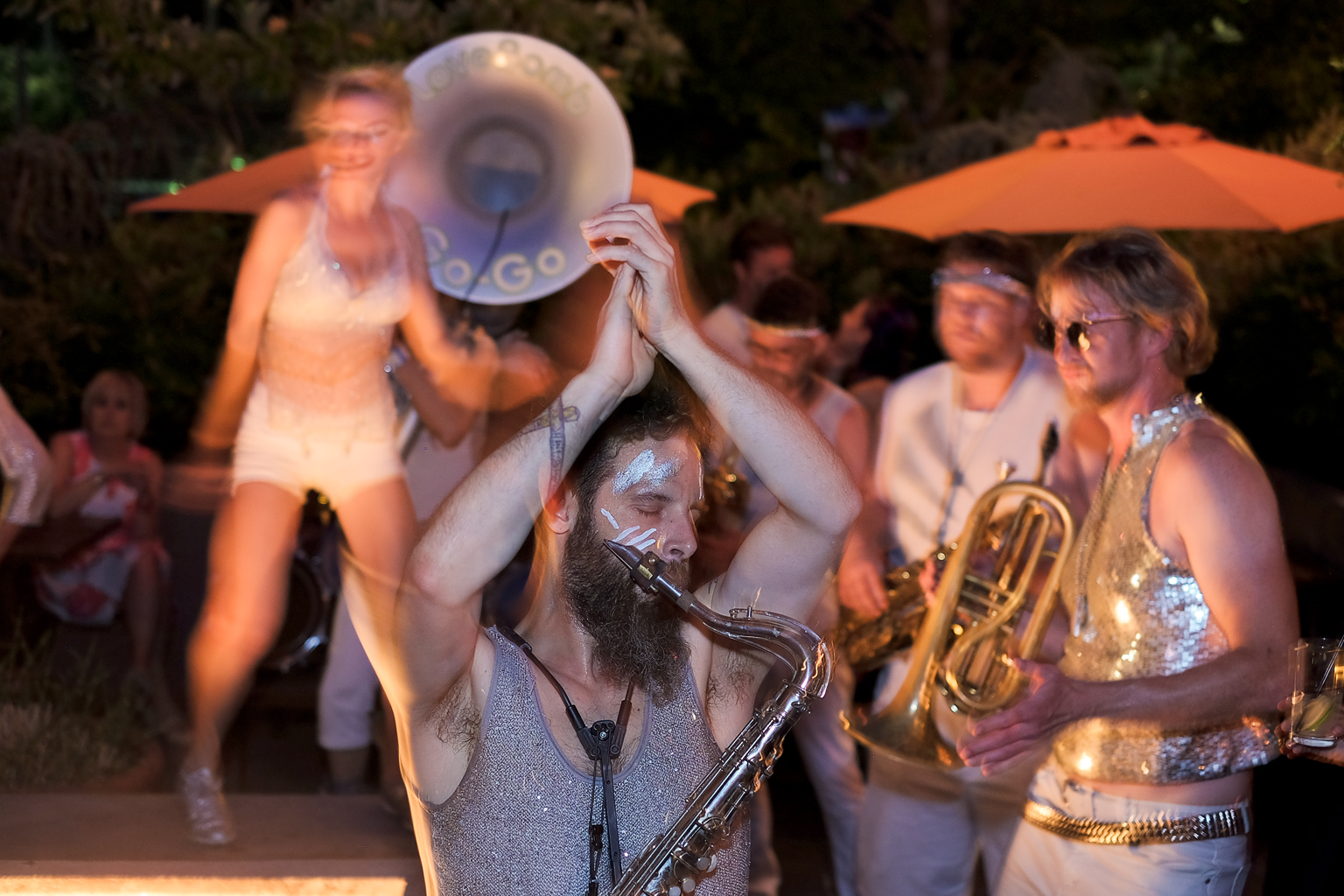 Love Bomb Go-Go, a self-described marching band of intergalactic marching freaks from Outer Space wowed the crowd with a late-night performance.