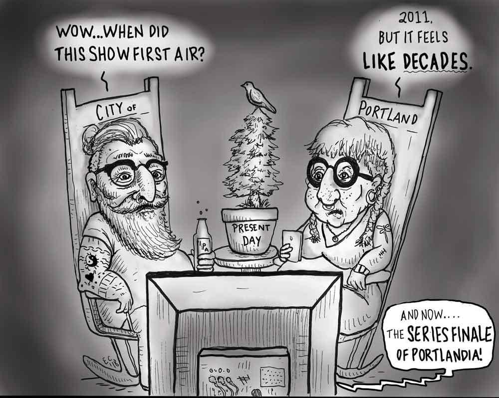 Sheeptoast editorial cartoon: Portlandia