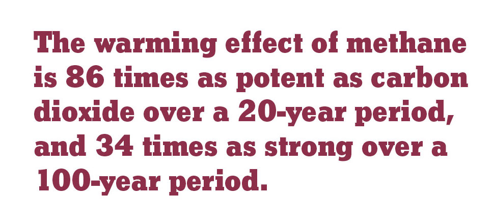 The warming effect of methane is 86 times as potent as carbon dioxide over a 20-year period, and 34 times as strong over a 100-year period.