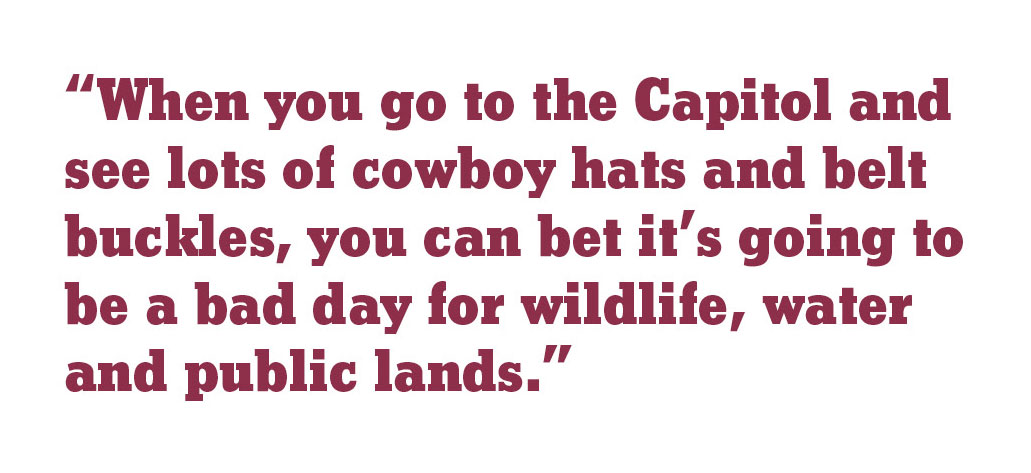 """When you go to the Capitol and see lots of cowboy hats and belt buckles, you can bet it's going to be a bad day for wildlife, water and public lands."""