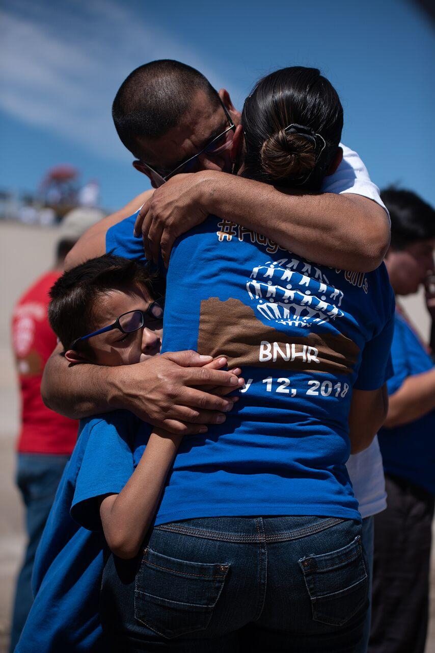 "People hug at the dried up Rio Grande at the ""Abrazos no muros"" celebrated last May."