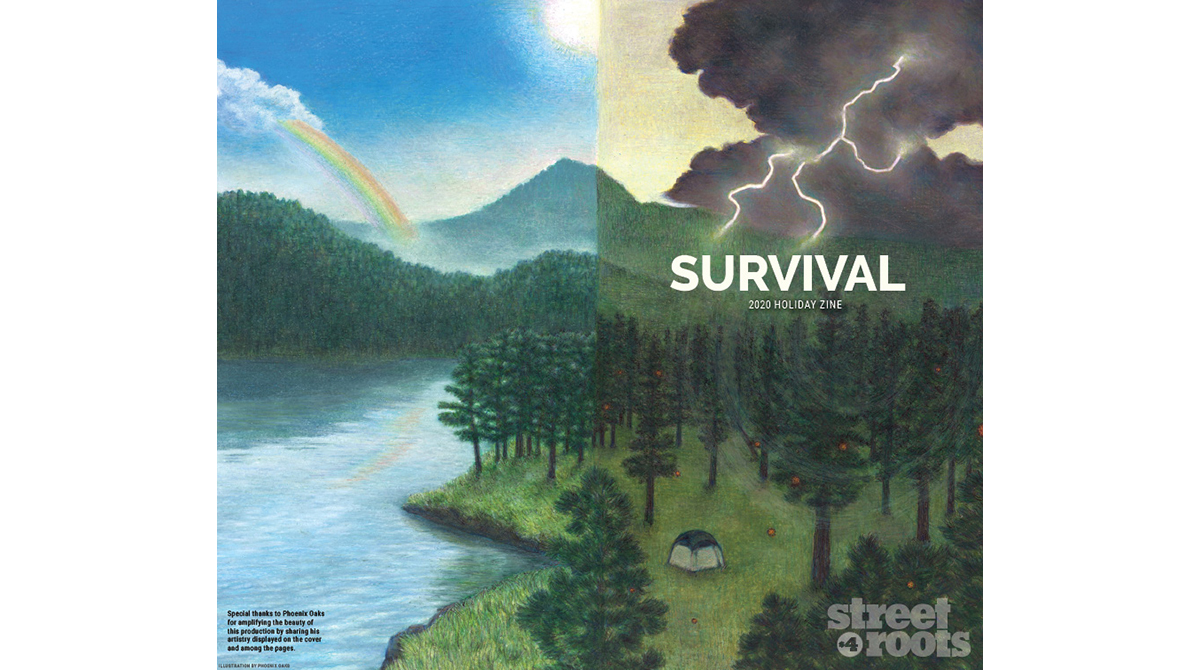 """The front and back cover of the """"Survival"""" zine"""