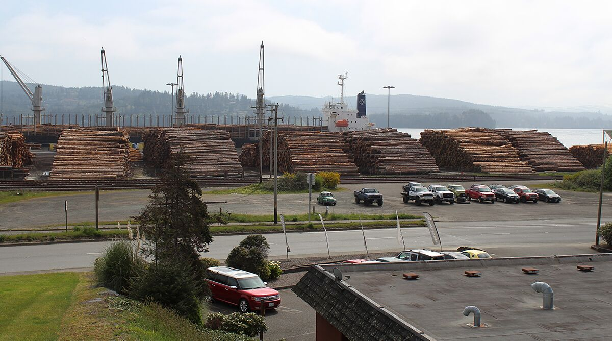 cargo ship docked in North Bend