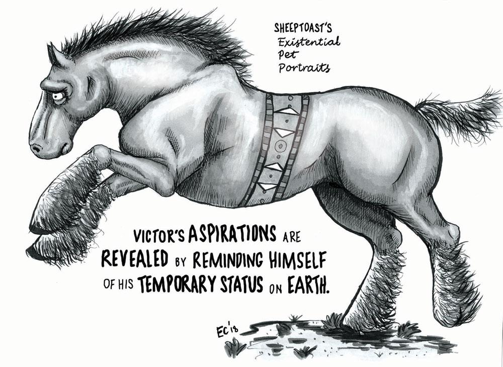 Sheeptoast editorial cartoon: Existential Pet Portraits – Victor