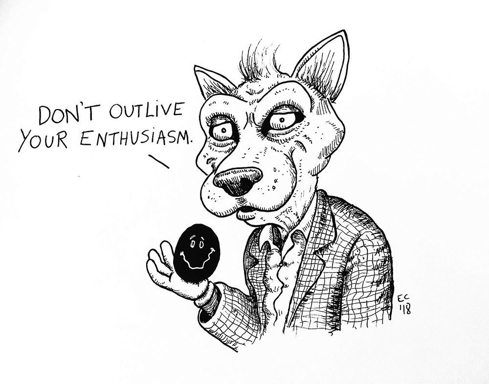 Sheeptoast editorial cartoon: Enthusiasm