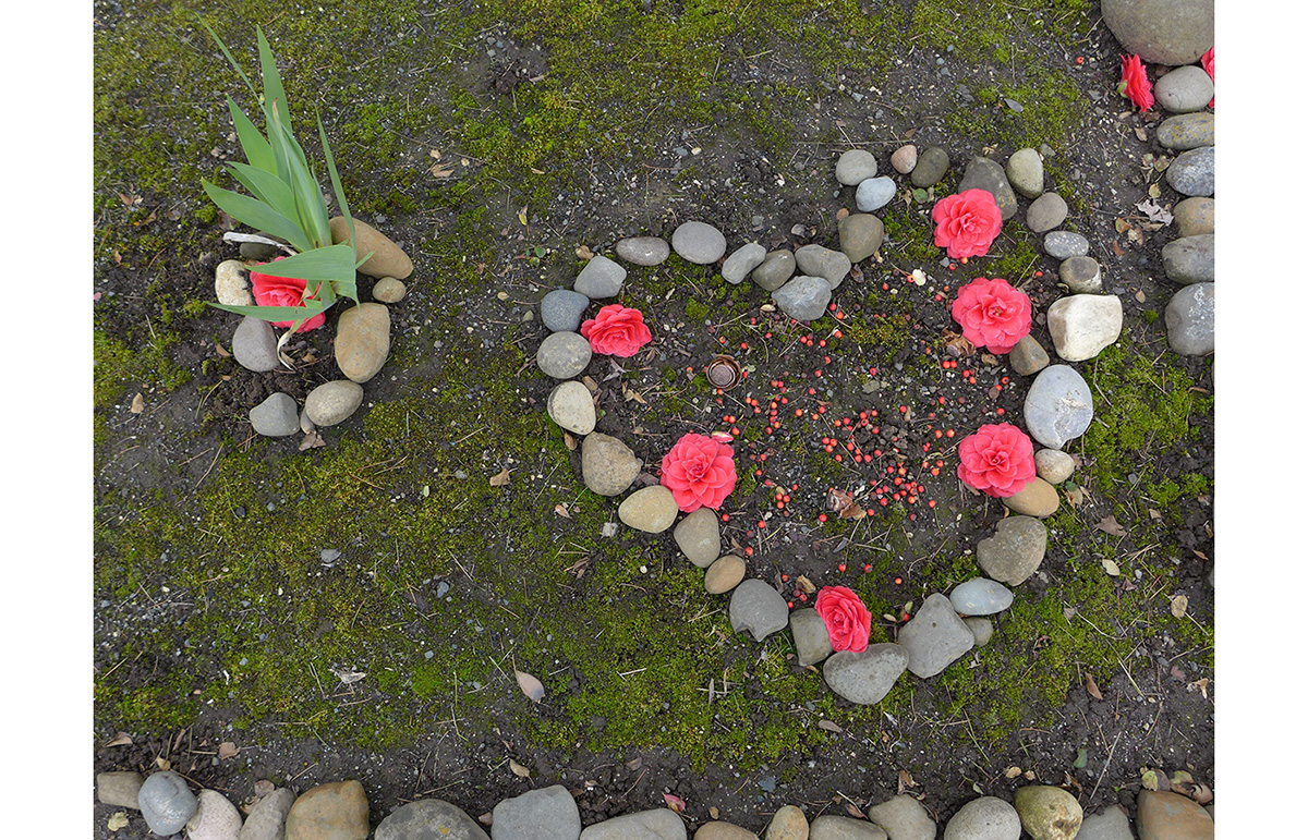 Photo of a heart made from stones and flower petals at Shorty's Corner