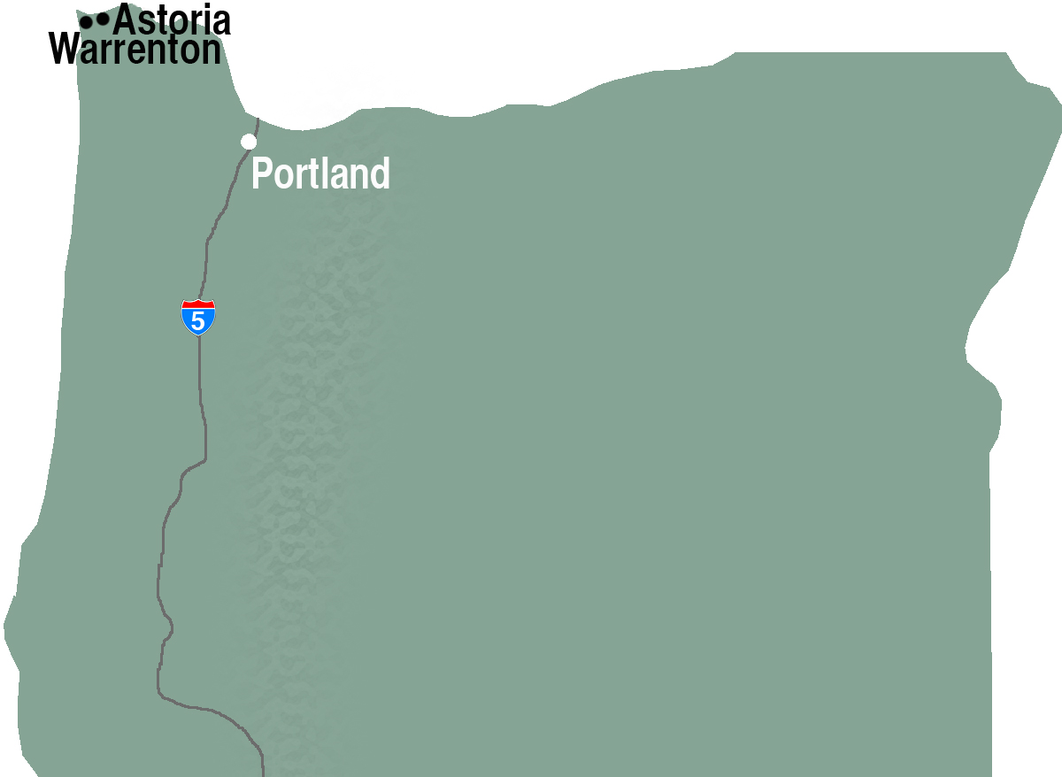 Map showing Clatsop County towns in relation to Portland