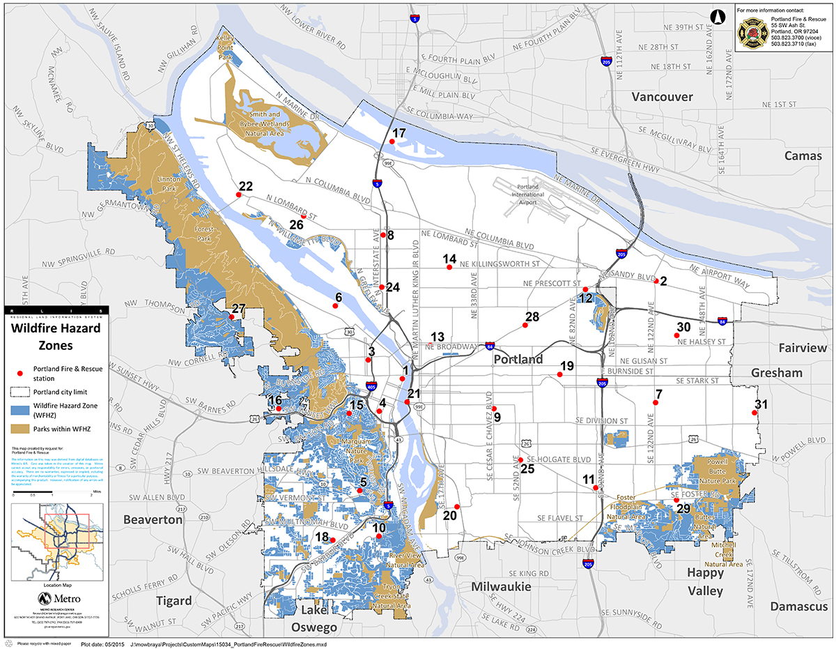 Wildfire danger zones by Portland Fire & Rescue