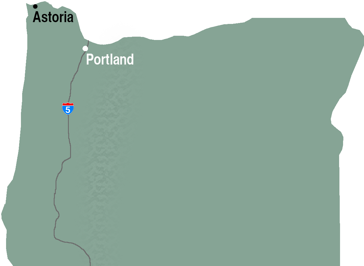 Map showing Astoria and Portland, Oregon