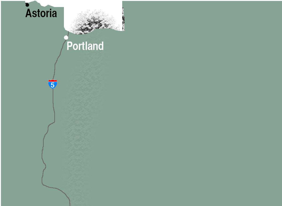 Map showing Astoria and Portland, Oregon