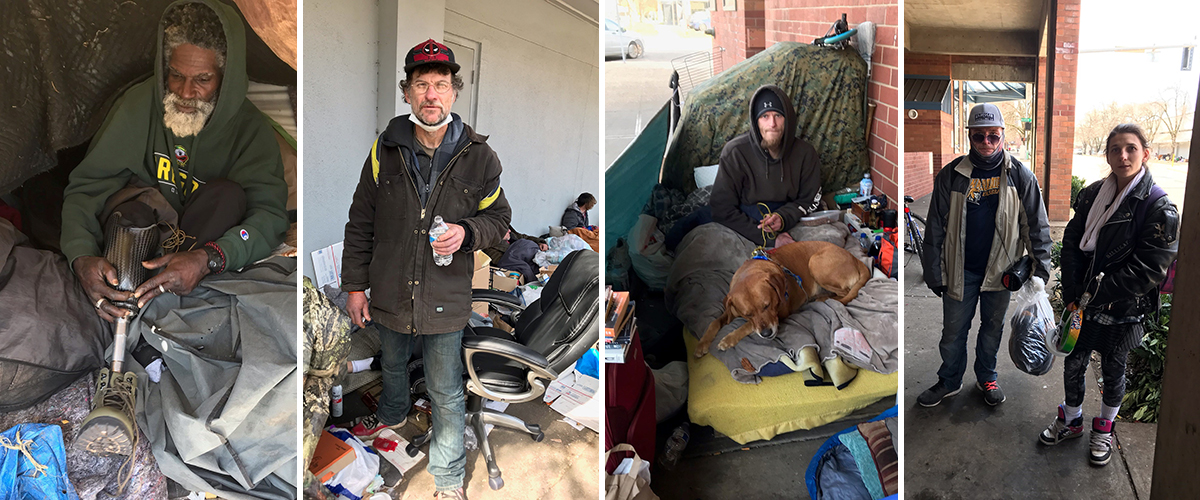Four photos of people who live outside near the Marion Parkade in Salem
