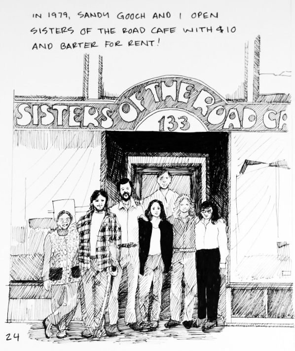 """An illustration of a group of people outside Sisters of the Road Cafe: """"In 1979, Sandy Gooch and I open Sisters of the Road Cafe with $10 and barter for rent!"""""""