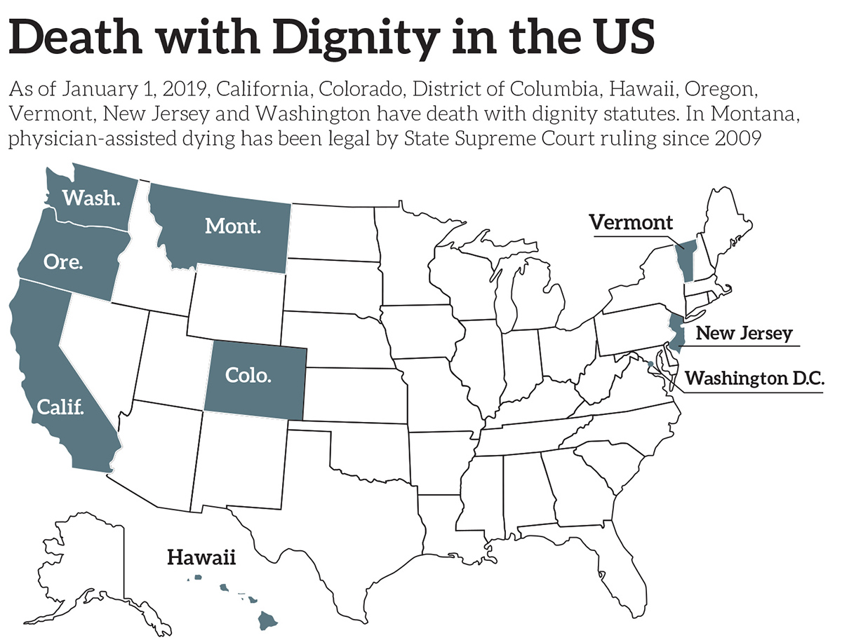 U.S. map: 8 states and the District of Columbia allow physician-assisted suicide