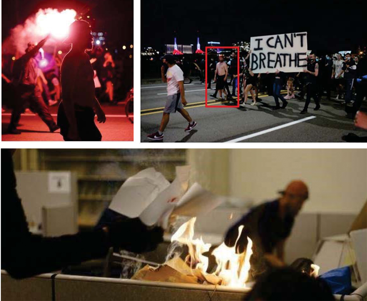 Two images showing a protester during marches and one showing someone presumably lighting a fire inside the building