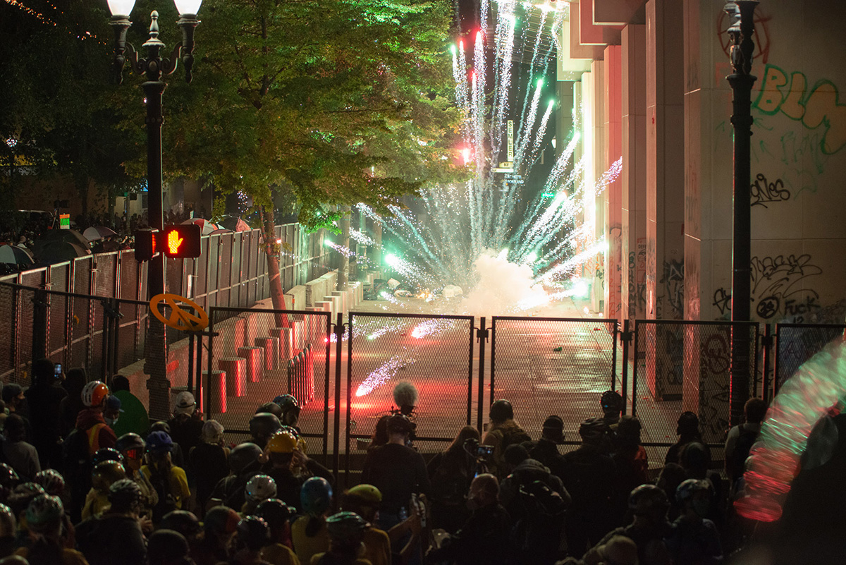 Fireworks in front of the courthouse