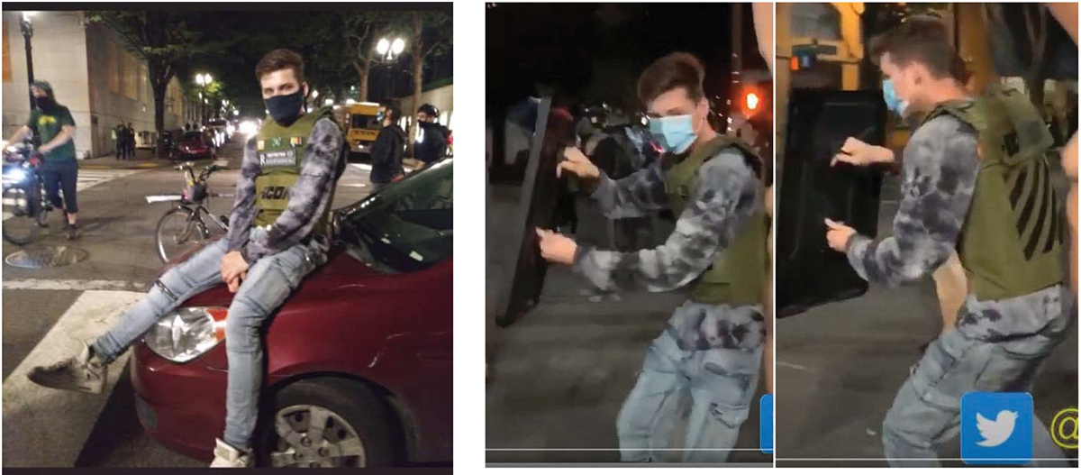 Images of a protester