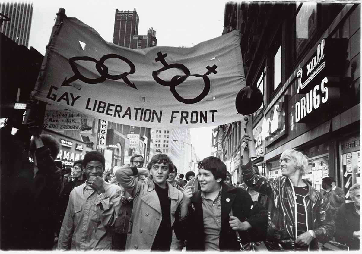 Gay Liberation Front marchers with signs