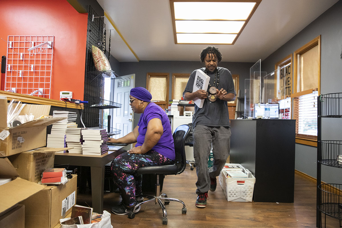 Michelle Lewis and Charles Hannah work at Third Eye Books