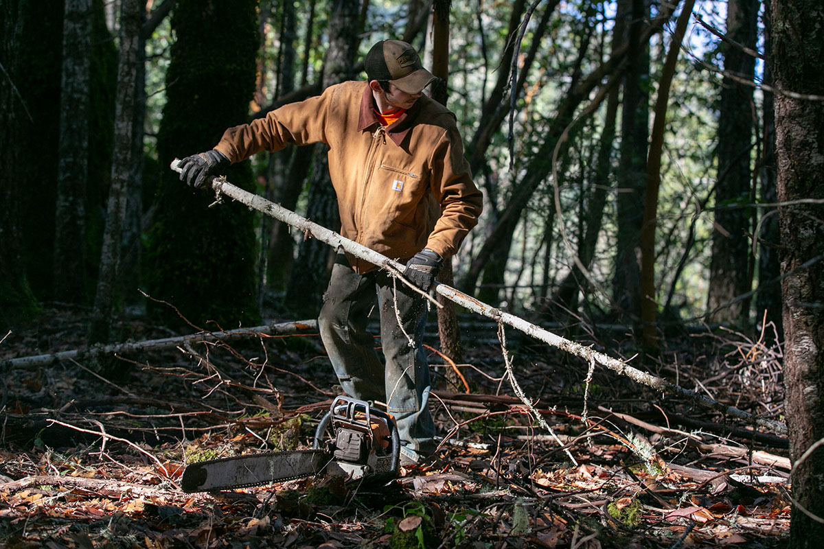 Robert Anderson picks up a tree branch. A chainsaw sits on the ground beside him.