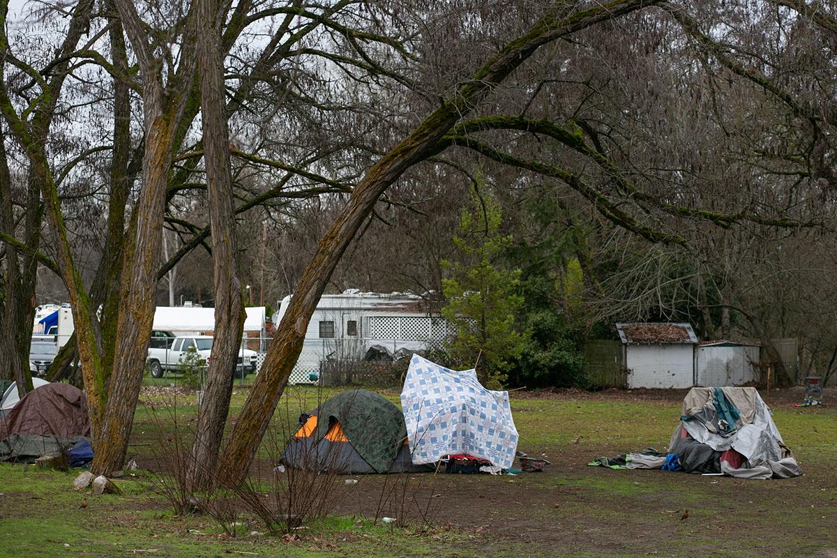 Tents in Riverside Park