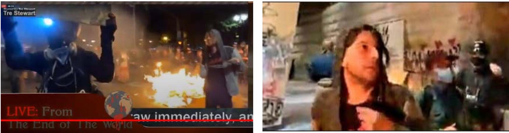 Photos of a protester next to a fire