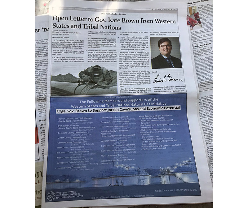 A newspaper page with an ad by Western States and Tribal Nations that looks like a news article