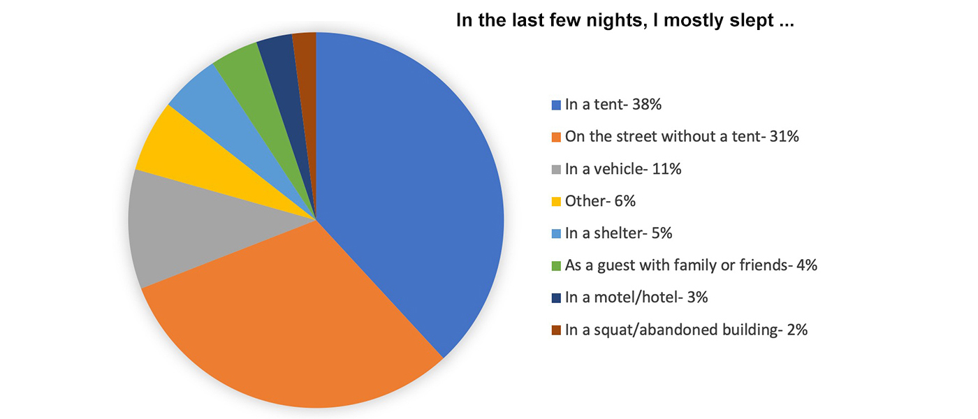 Pie chart: In the last few nights, I mostly slept ... 38% tent, 31% street (no tent), 11% vehicle ... Click for the full report.