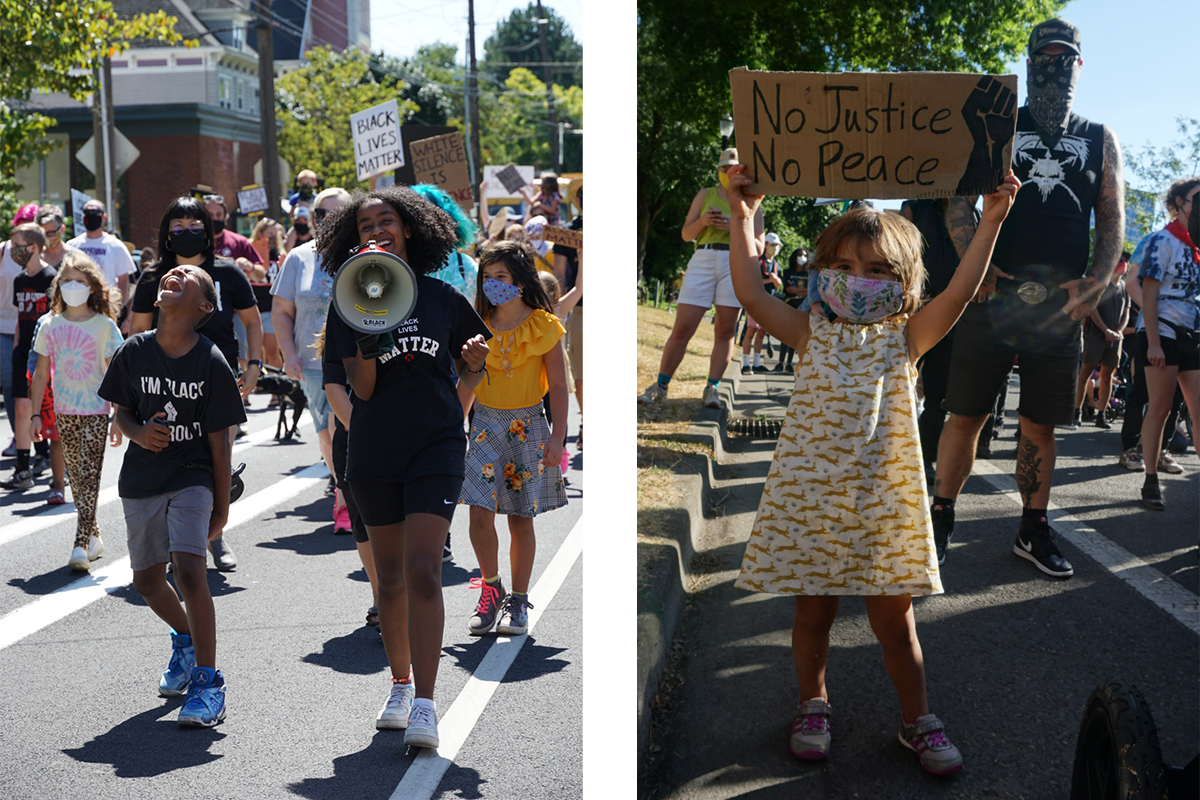 Children participate in Black Lives Matter rallies
