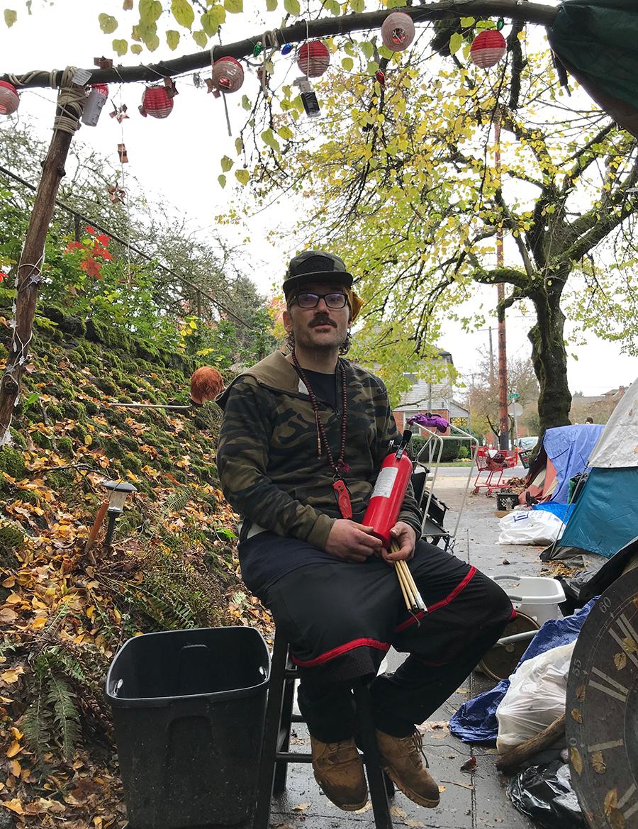Randal Titus at the Laurelhurst Park camp