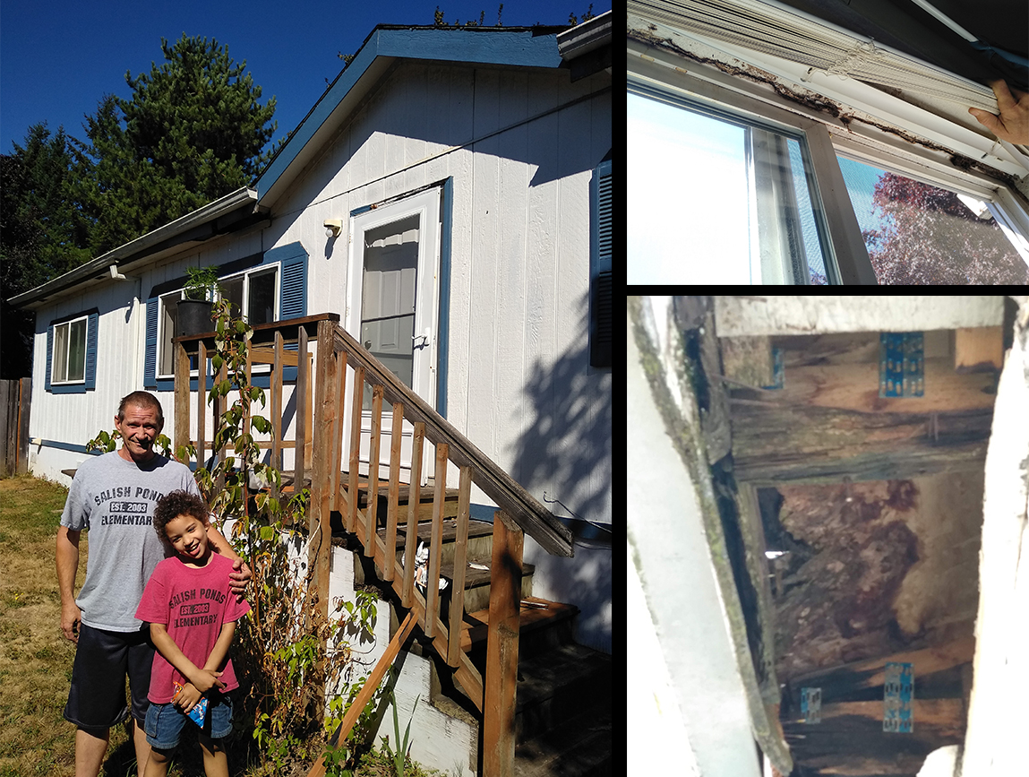 Three photos: Steven McNatt and his son in front of their porch; window with mold; missing ceiling